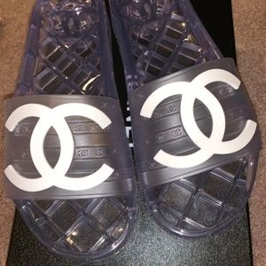 Chanel 19C clear pvc pool slides